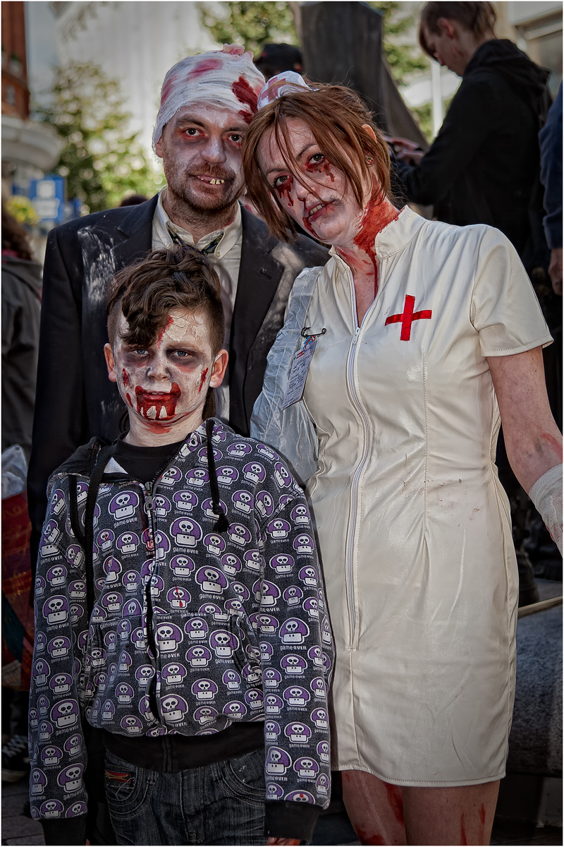 A Zombie family roaming the streets of Belfast