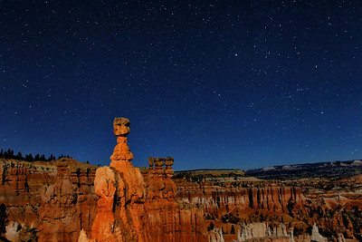 Thor's Hammer is illuminated by moonlight and a headlamp, Bryce National Park, Utah, USA.