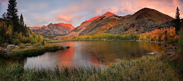Alpenglow Lit Peaks Above North Lake