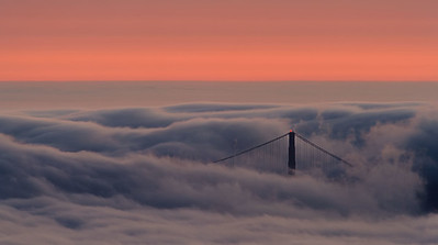 The north tower of the Golden Gate Bridge pokes through the early evenning fog as seen from TIlden Park above Berkeley. San Francisco, California, USA.