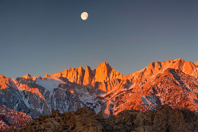 Alpenglow and Moonset Over Mt. Whitney