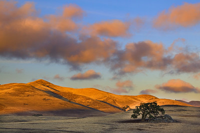 A setting sun warms the golden hills of the Diablo Range, San Benito County, California, USA.