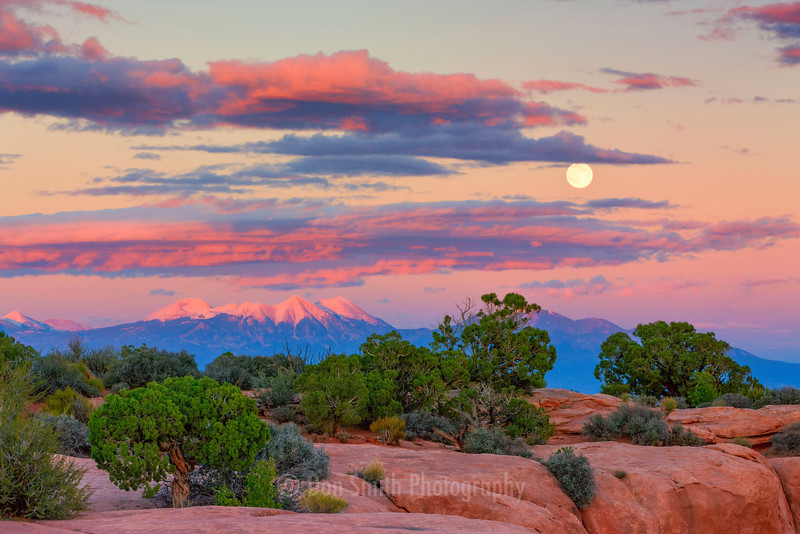 Canyonlands Moonrise and La Sal Mountains