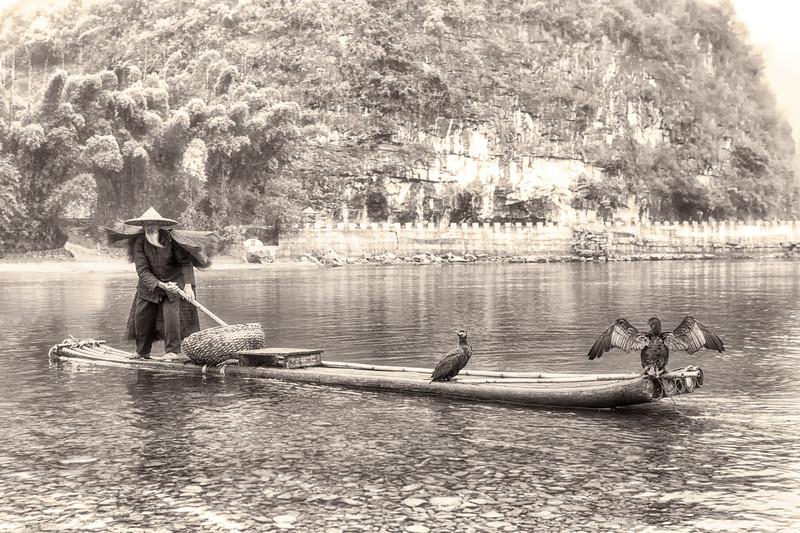B&W Fishing Boat