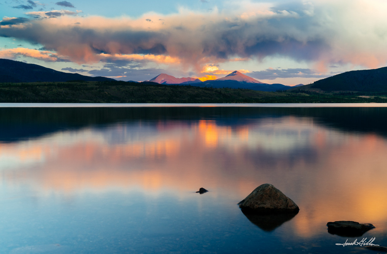 Reflection at sunset on Lake Dillon