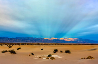 Crepuscular Rays Over Mesquite Dunes