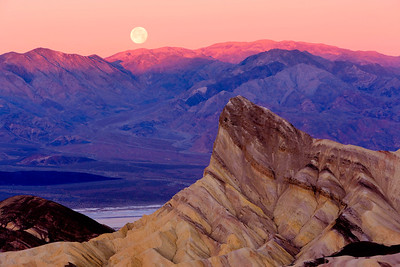 Moonset at Sunrise, Zabriskie Point