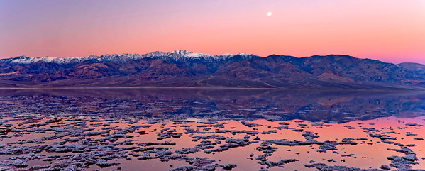 Moonset and Dawn Sky, Badwater