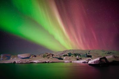 Aurora Borealis Over Glacier Lagoon