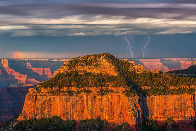 Lighting Strikes and Partial Rainbow at Sunrise & Grand Canyon National Park - Don Smith Photography