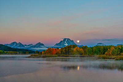 Moonset Near Mt. Moran from Oxbow Bend
