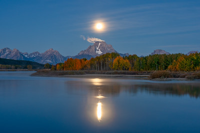 Full Moon Over Mt. Moran at Oxbow Bend