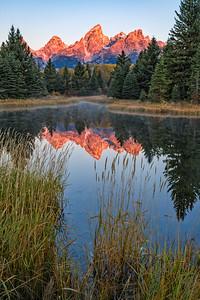 Alpenglow in Teton Peaks