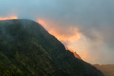 Na Pali Cliffs and Warm Sunset Light