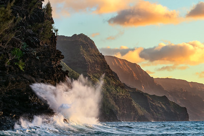 Crashing Wave and Na Pali Coast