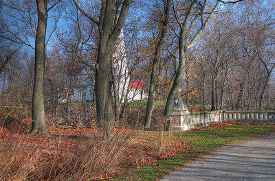 Walking North in Lake Park along the newly restored bridge