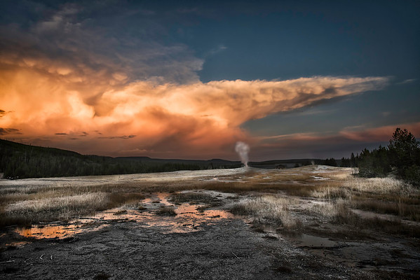 "Yellowstone National Park ... ""Sunrise over Old Faithful"""