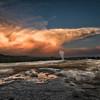 """Yellowstone National Park ... """"Sunrise over Old Faithful"""""""