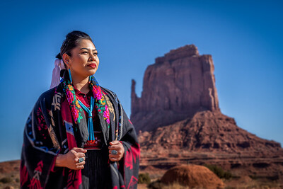 Young Female Navajo and West Mitten