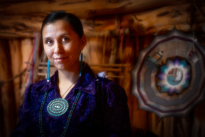 Young Female Navajo in Traditional Hogan