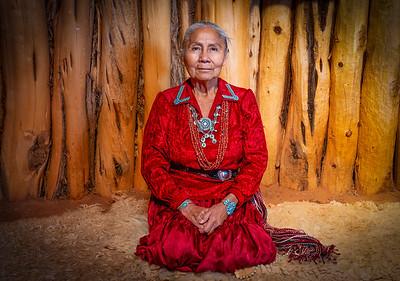 Female Navajo Elder in Traditional Hogan