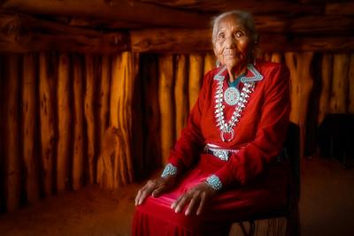 Navajo Elder in Traditional Hogan
