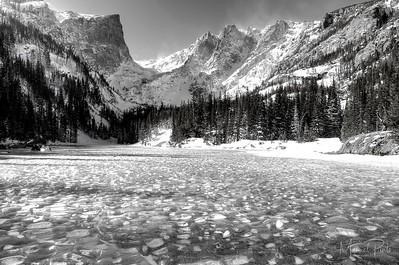 A frozen Dream Lake Rocky Mountain National Park, Colorado Black & white 2013 February