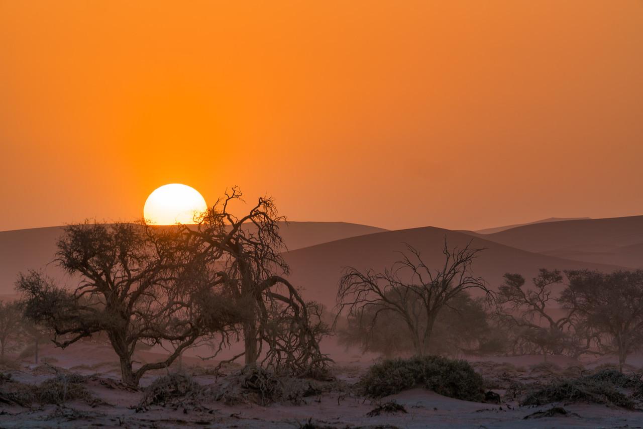 Setting Sun Over Namib Desert