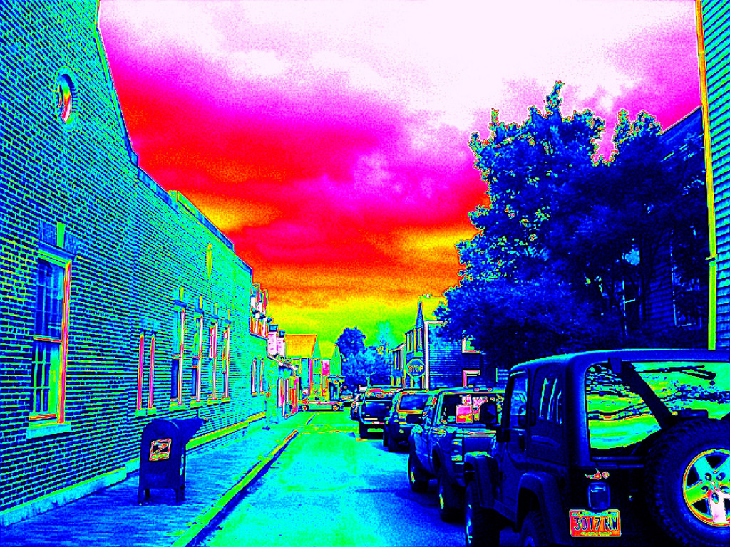 Here's the street scene--ala Andy Warhol using one of Photogene app's filters.