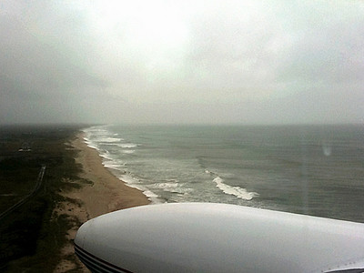 Arriving in Nantucket--storm clouds on the horizon and the wind is up.