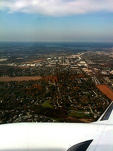 Flying home with blue skies over Waukesha--the maples are bright red.