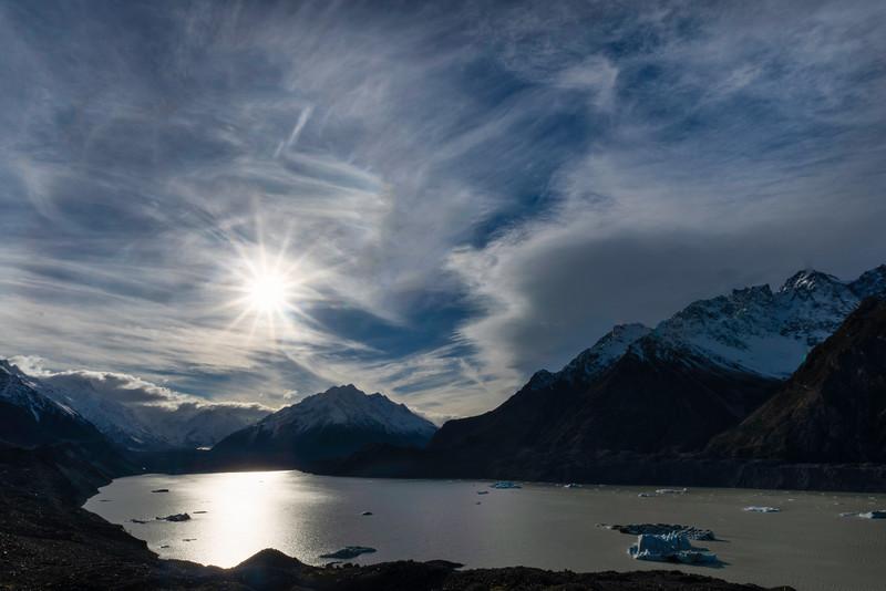 Sun Star Over Lake Tasman