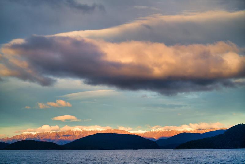 Sunset Sky Over Lake Manapouri