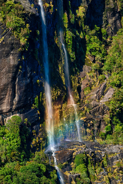 Falls and Mistbow in Doubtful Sound