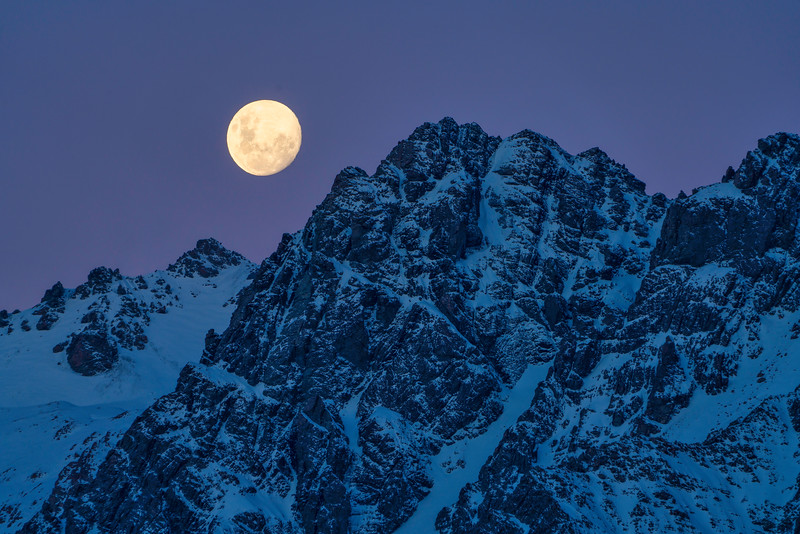 Moonrise at Dusk, Mt. Cook National Park