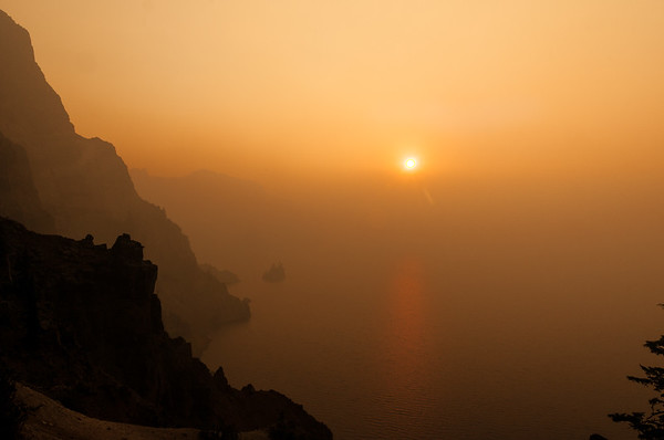 Crater Lake NP 22 Aug 2017, Fires west of the Lake produced heave smoke creating a look that not meany have seen of this Iconic Park.
