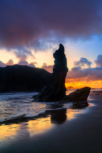 Sea Stack and Sunset Sky