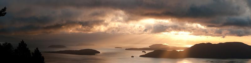 December sunrise from little summit Moran St. Park Orcas island.