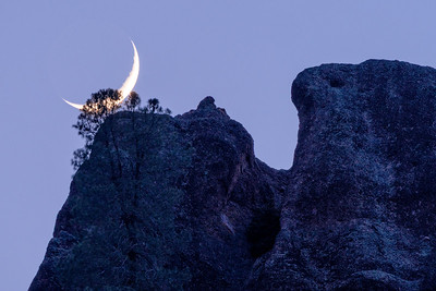 High Peaks Crescent Moonset