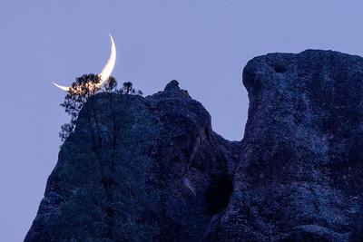 High Peaks Crescent Moonset