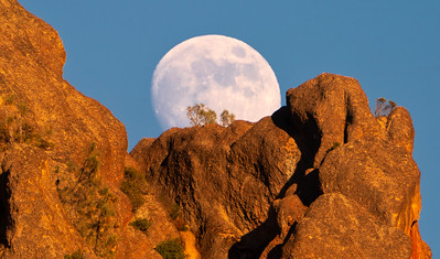 Moonrise Over High Peaks at Sunset