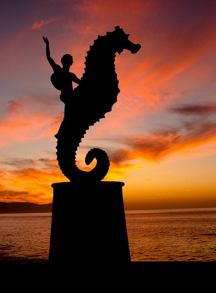 Artist's sculpture at sunset (Puerto Vallarta, Mexico)
