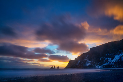 Sunset from Black Sand Beach, Vik, Iceland