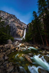 Lower Yosemite Fall Under Star Light With Moonbow, Yosemite Valley