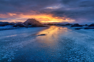 Black Sand Dunes and Ice at Vestrahorn