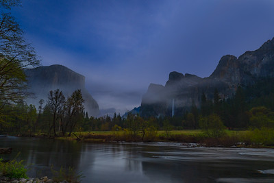Mist and El Captian, Cathedral Rocks and Merced RIver, Yosemite Valley