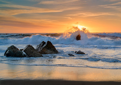 Wave crash, Garrapata State Beach, Big Sur Coast, California, USA.