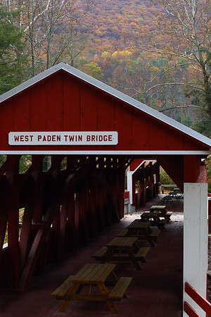 IMG#2553 West Paden end of theTwin Bridges, the only twin covered bridges in the United States. Located in Columbia county, Pensylvania. October 2009