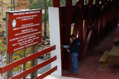 IMG#2557 Twin Bridges Park Regulation, East and West Paden covered bridges. Columbia county, Pennsylvania October 2009