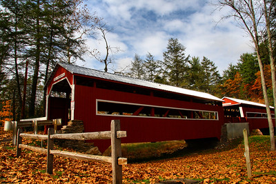 IMG#2584 East and West Paden Twin Bridges, the only twin covered bridges in the United States. Built in 1884 by W.C. Pennington for $720.00. Located on Huntingdon Creek in Fishing Creek Township, Columbia county, Pennsylania. October 2009